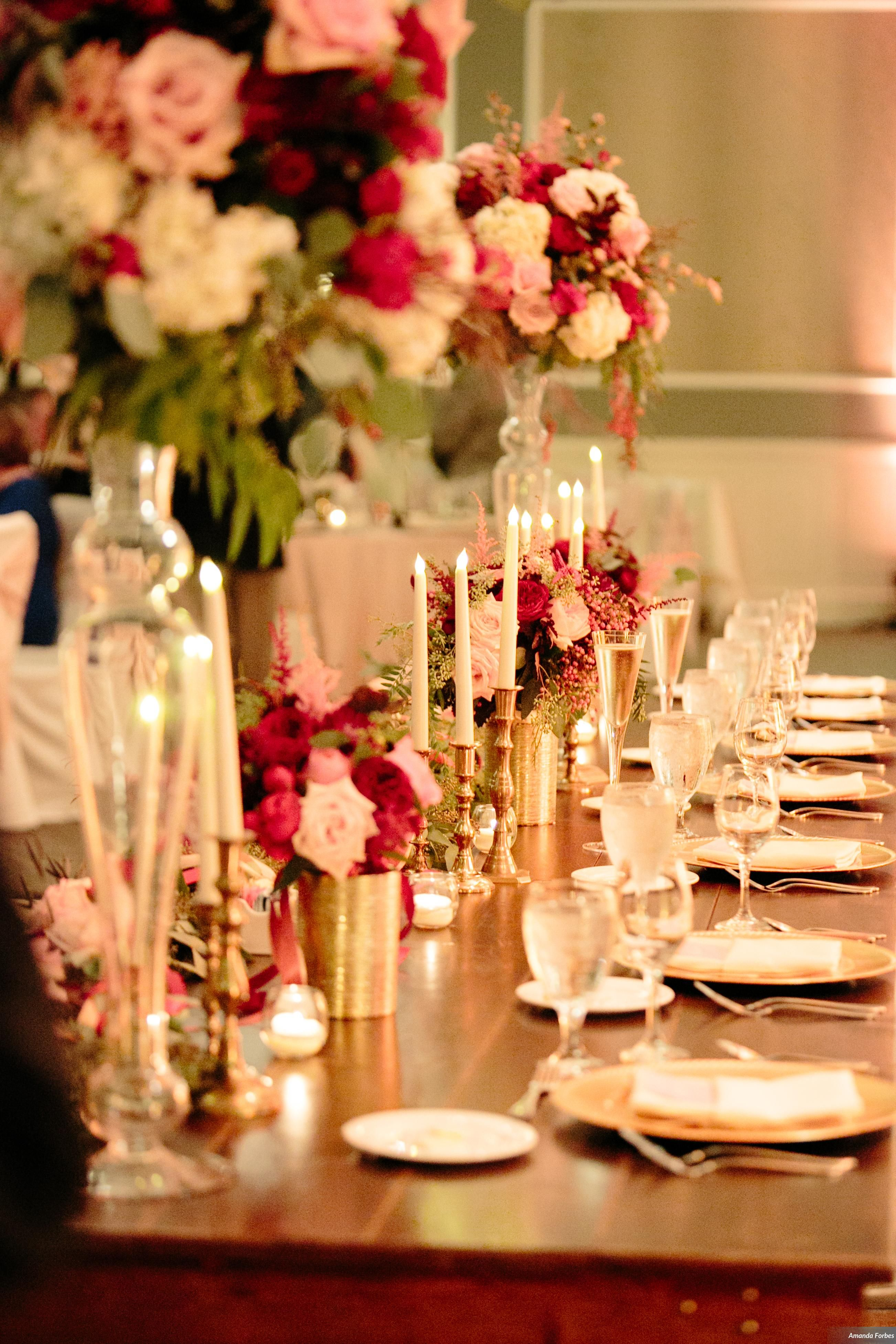 Blush White Marsala Red And Gold Wedding Designed By Tina