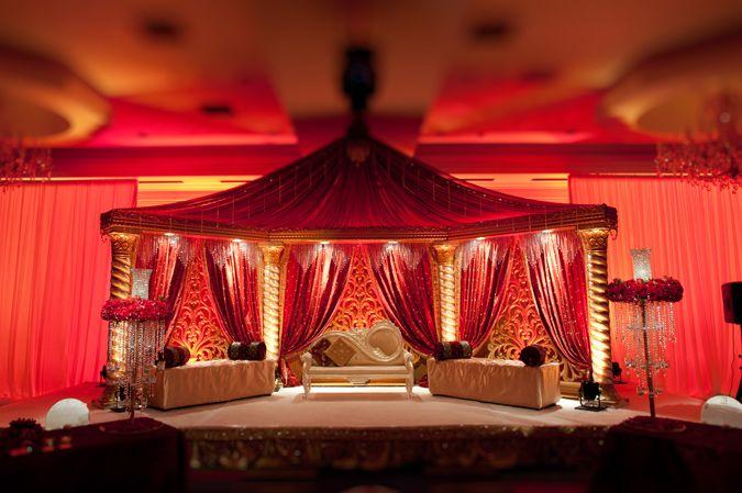 Indian Wedding Decorations Ornate Red Cream Mandap
