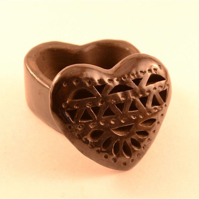 Mini Black Clay Heart Jewelry Box Handmade Jewelry Boxes
