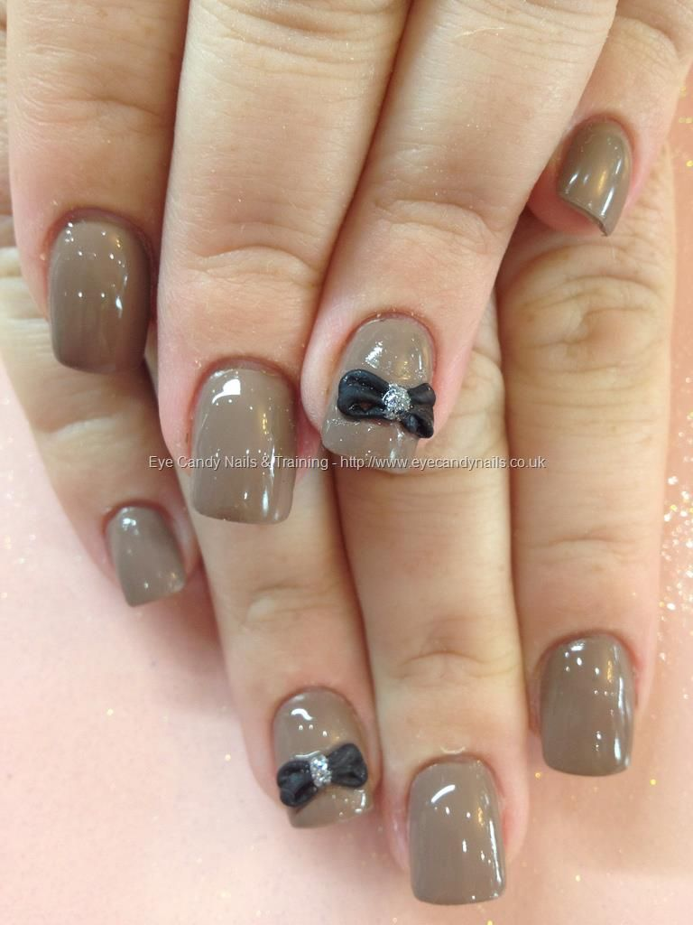Nude polish with black 3D bow over acrylic nails | Tips | Pinterest ...