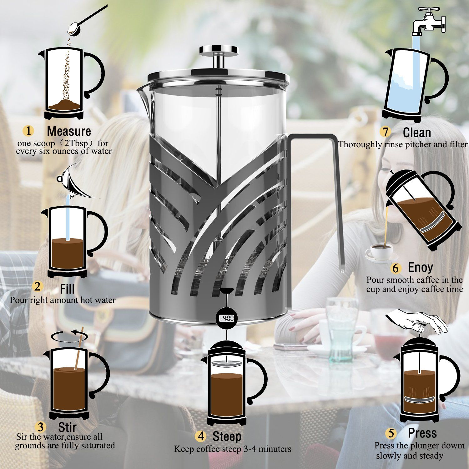 Inmount french press coffee maker tea maker with 4 coffee