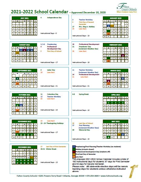 Fulton County Schools Calendar 2022.Fulton County Schools Calendar In 2021 School Calendar Calendar Calendar Board