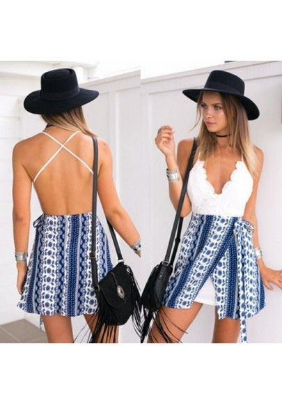 5801fec967f4 MalangFashion White-Blue Patchwork Print V-neck Spaghetti Strap Backless  Mini Dress