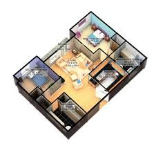 Image Result For 3d Open Floor Plan 3 Bedroom 2 Bathroom