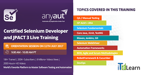 It is a tailor-made training program for Automation Test Engineers to master core testing tools and concepts. Register here- http://itelearn.com/certified-selenium-developer/ Date & Time: 11th July at 9.00 AM Pacific / 9.30 PM IST  Also, join our event on FB and LinkedIn to get regular updates. Facebook Event: https://www.facebook.com/events/124924624758273/ Linkedin Event: https://www.linkedin.com/organization/3585755/admin/updates""