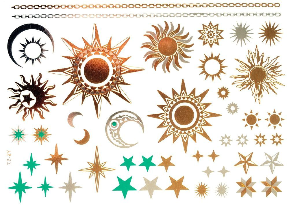 Details About Gold Tattoo Flash Tattoos Sterne Sonne Mond Ornamente