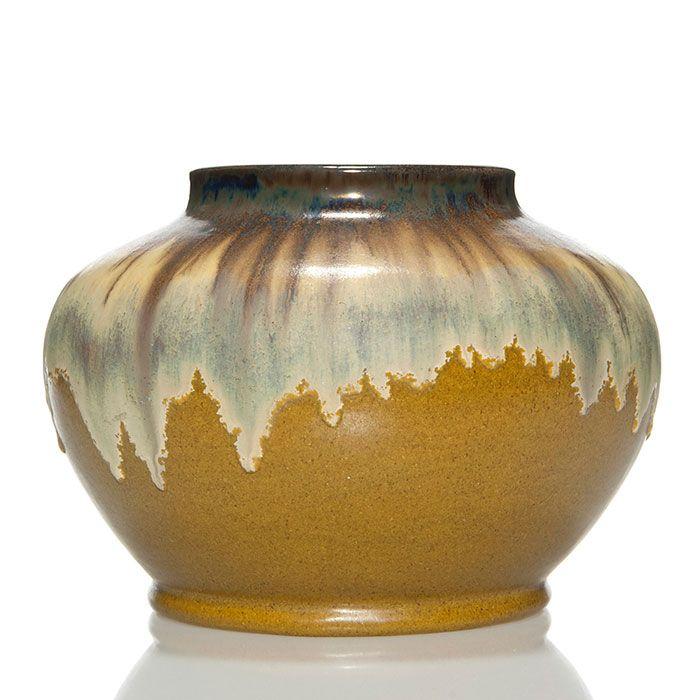Fulper Vase Shape 58 Covered In Ivory Flambe Over Mustard Matte
