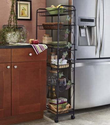 Kitchen Storage Tall Narrow 6 Shelves Shelf Shelving Unit Rolling Cart Wire Baskets 10 In Wide