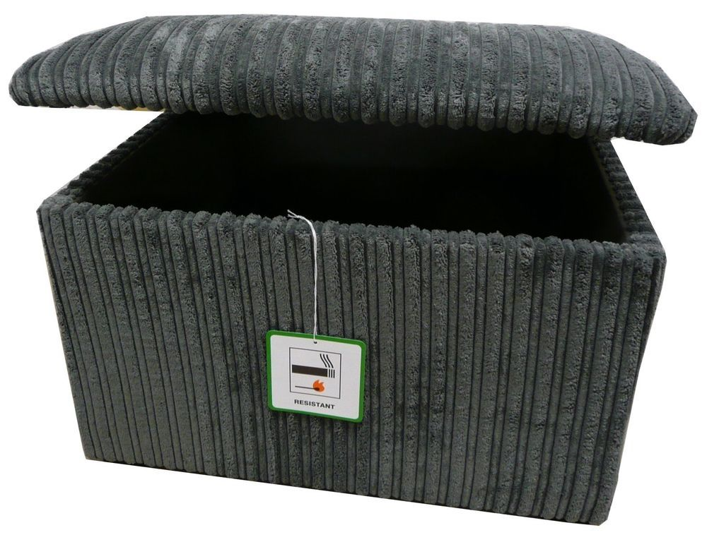 Grey jumbo cord ottoman style large upholstered storage box chest trunk  seat uk in Home, - Grey Jumbo Cord Ottoman Style Large Upholstered Storage Box Chest