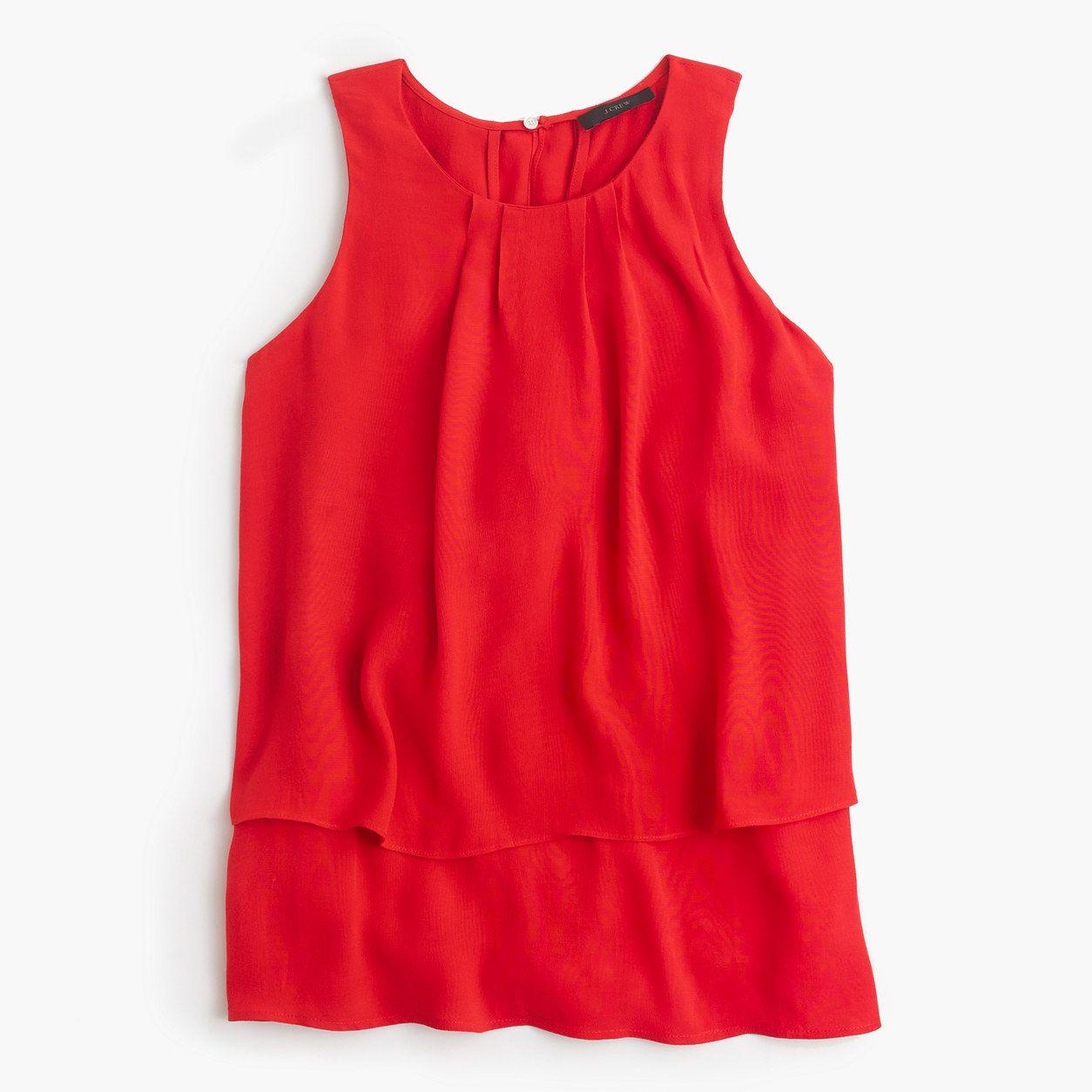 Tiered crepe top : tops & blouses | J.Crew