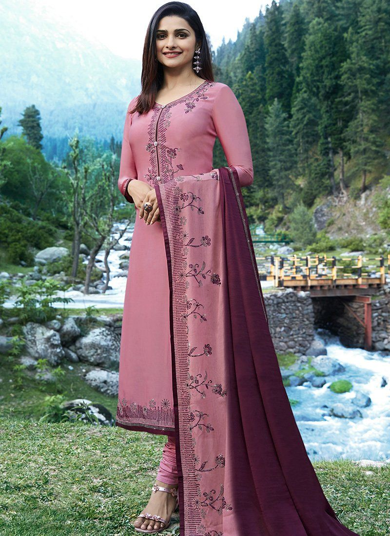 4310478f4e A Pink Prachi Desai Churidar Satin Salwar Kameez. Satin top and Santoon  inner, Santoon