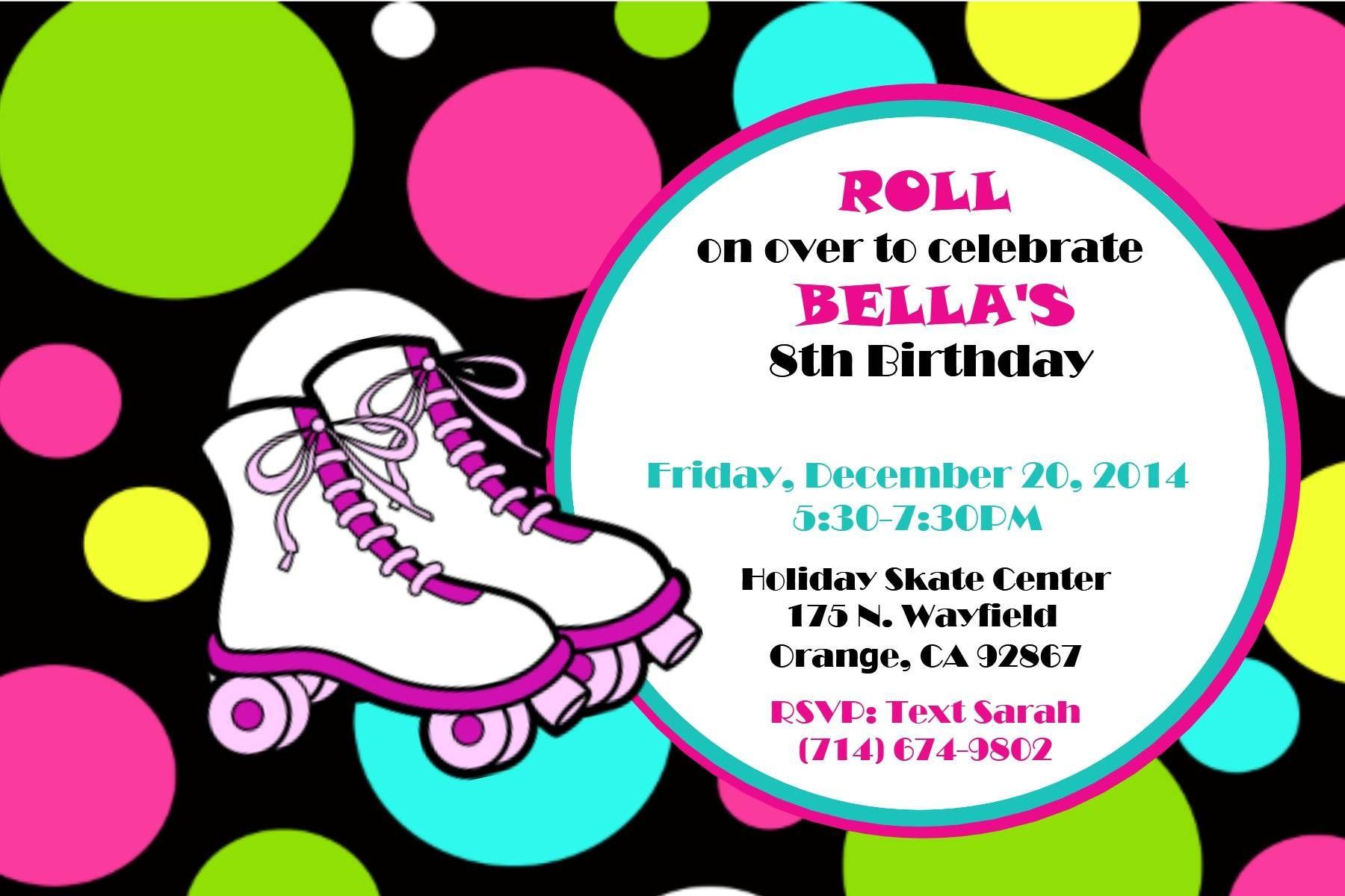 Roller Skating Party Invitations Printable Free | Roller Skating ...