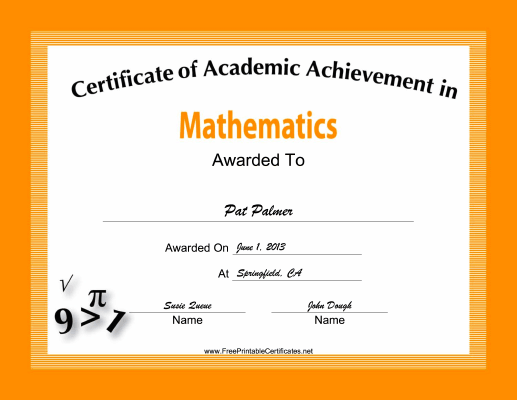 This free printable certificate of academic achievement in this free printable certificate of academic achievement in mathematics has equations and formulas decorating a yadclub Image collections