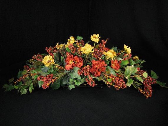 Long Low Tuscan Dining Table Centerpiece Poppy Hydrangea Berry Silk Flowers