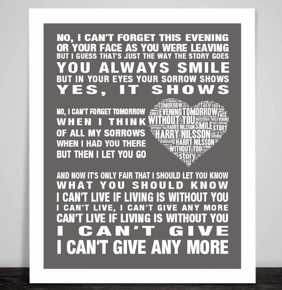 Harry Nilsson Without You Music Song Lyric Print Poster Art Heart