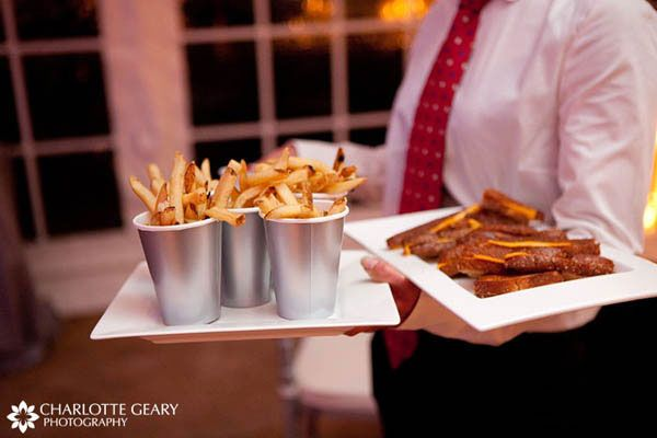 French fries and grilled cheese sandwiches served as a late-night snack to dancing guests