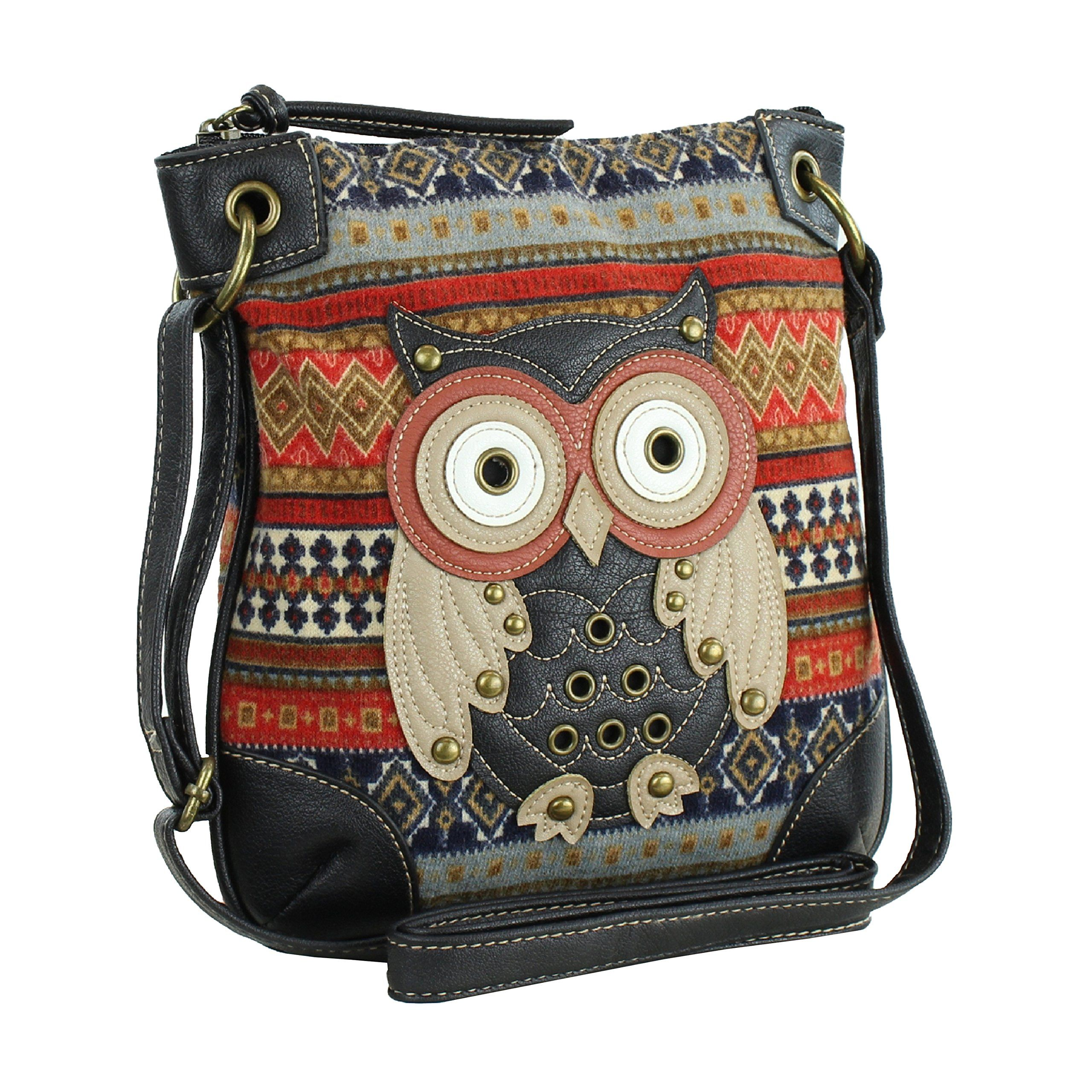 Orange Messenger Bag W Studded Patchwork Owl Lique