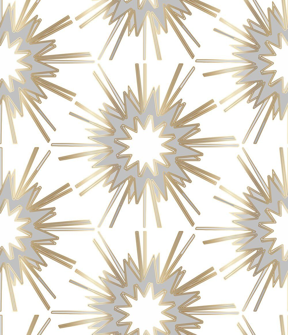 A burst of white, gray and gold designed by Jennifer Latimer. Available in fabric by the yard and wallpaper.