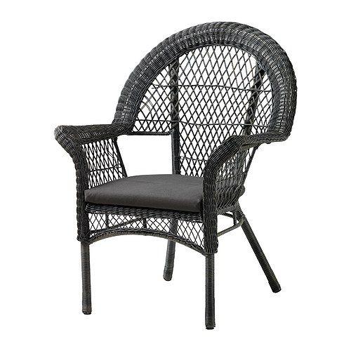 l ck fauteuil avec coussin ext rieur gris ikea fauteuils et le rotin. Black Bedroom Furniture Sets. Home Design Ideas