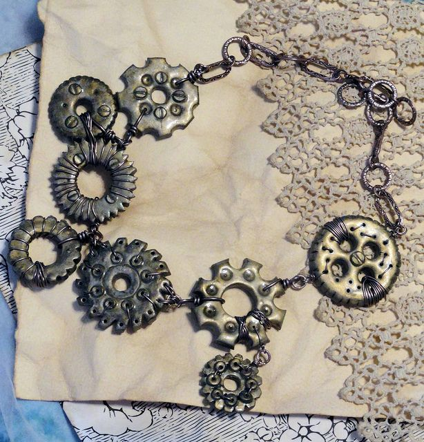 Steampunk polymer clay by Tiffany Long of Glory Hound Designs! Never thought to make cogs with clay.