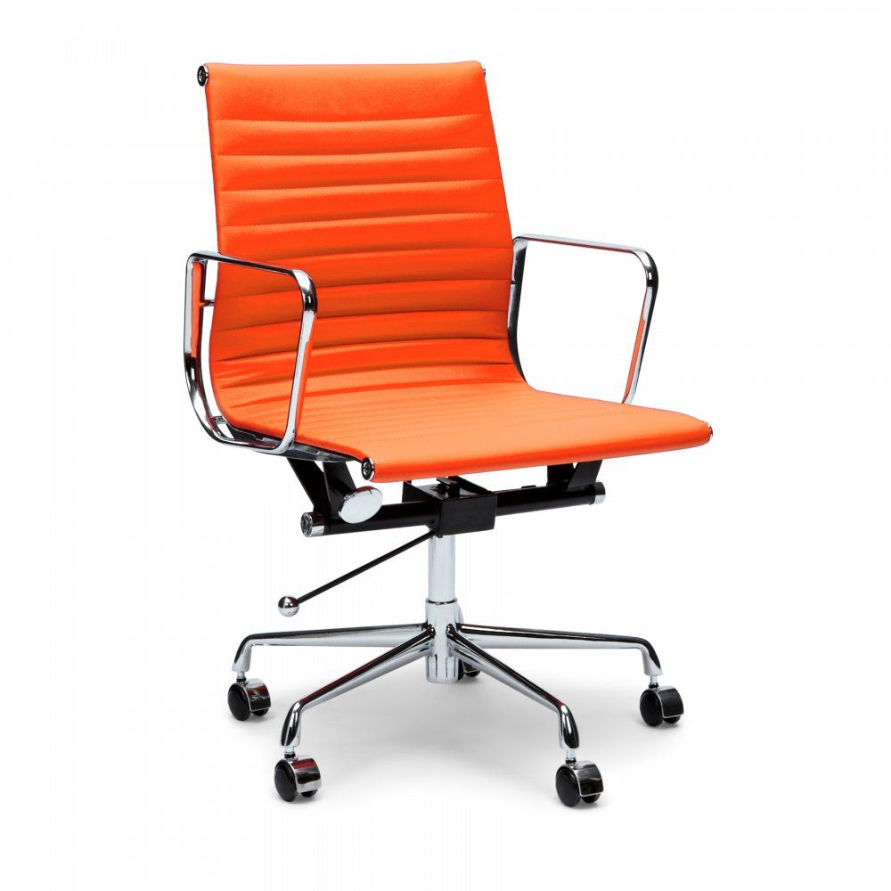 eames ribbed chair tan office. Eames Orange Short Back Style Ribbed Office Chair - From Cult Furniture UK Tan E