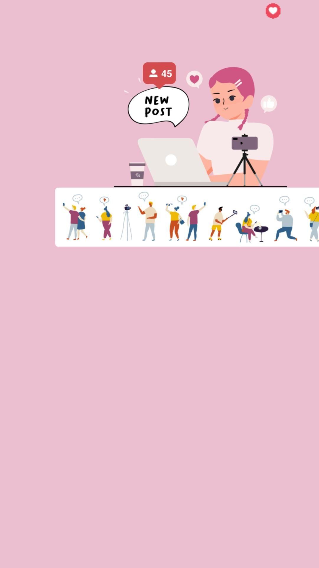 Fundo de story para instagram criadora de conteúdo cor rosinha