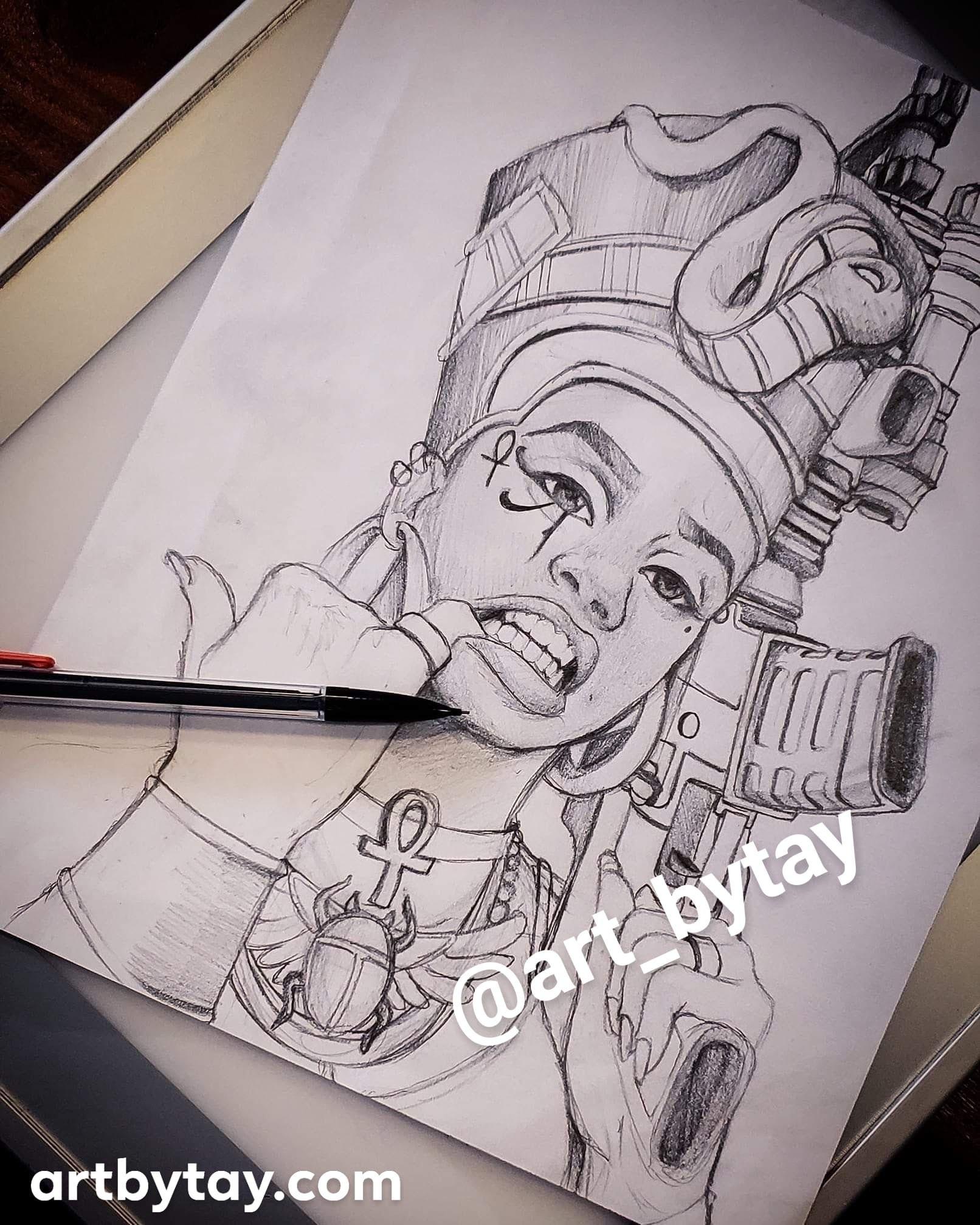 Black Nefertiti Drawing : black, nefertiti, drawing, ZieZie, Wonderland, Tattoo, Design, Drawings,, Egypt, Tattoo,, African