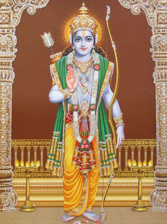 Lord Rama Poster With Glitter Reprint On Paper Unframed