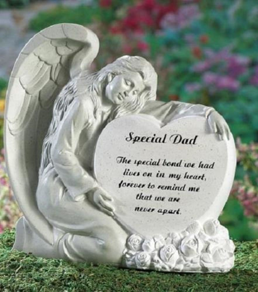 Wonderful Memorial Angel DAD Heart Remembrance Garden Statue
