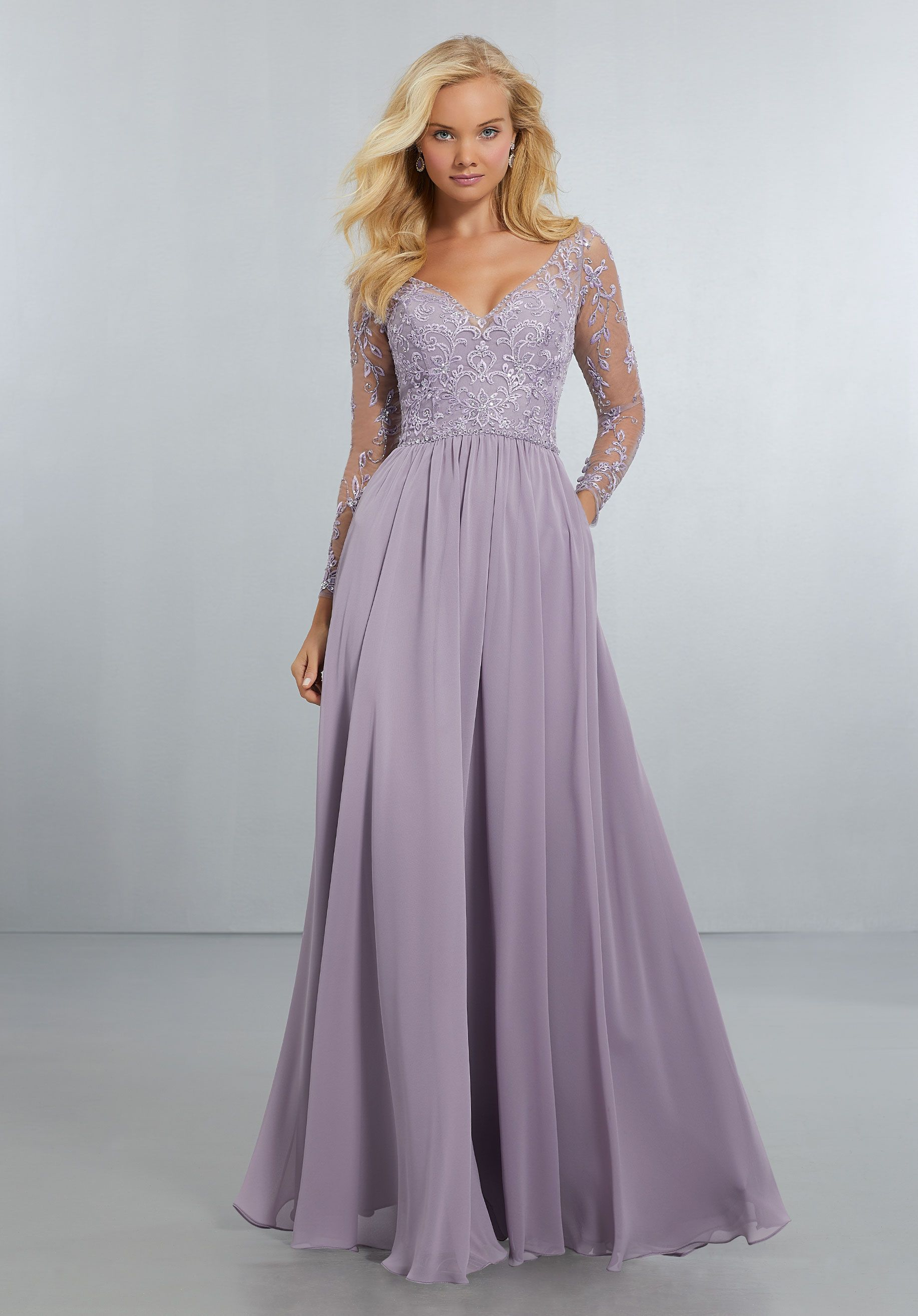 197c31332a Chiffon Bridesmaids Dress with Intricately Embroidered and Beaded ...