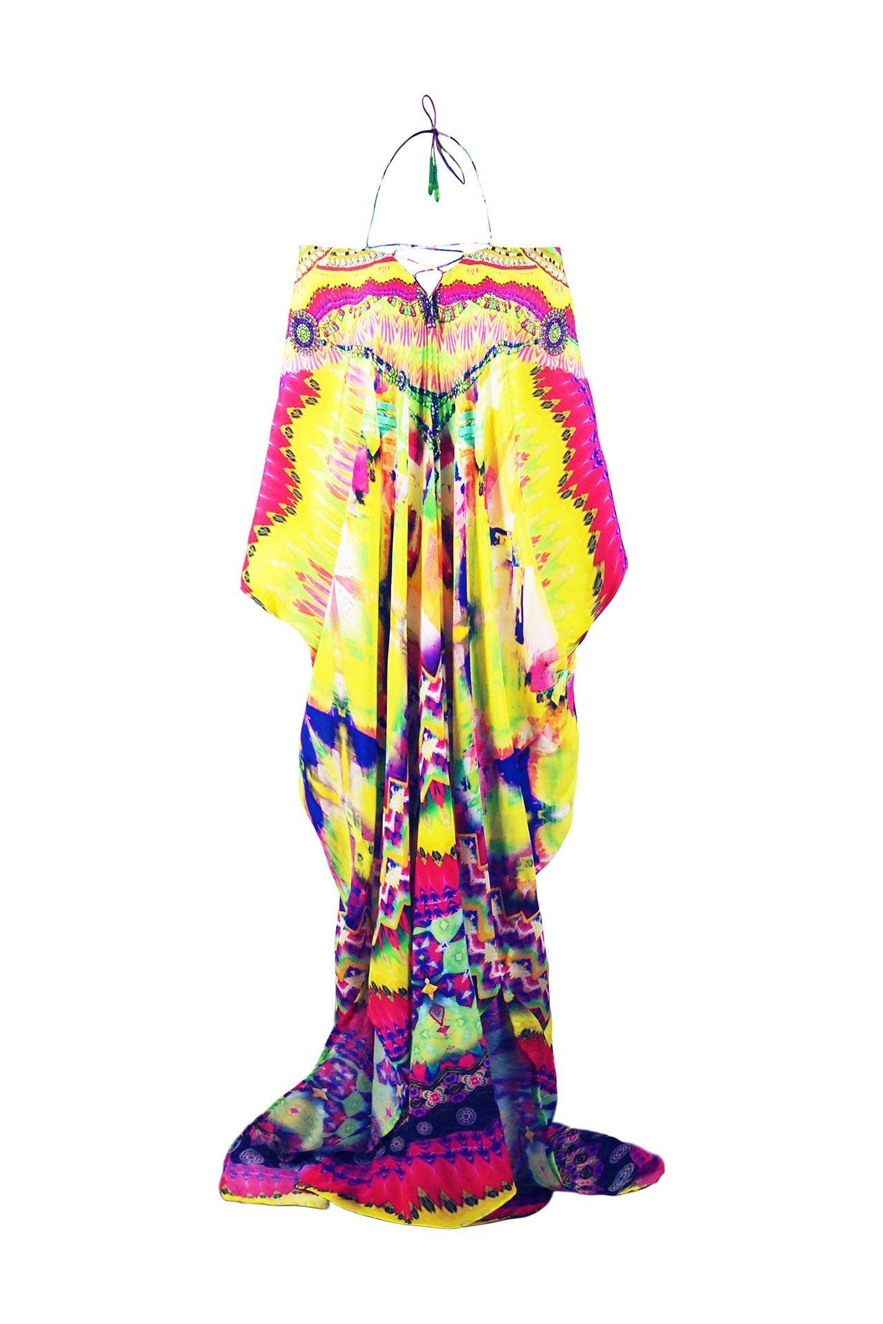 Shahida luxury lace up kaftan dress long maxi in yellow print