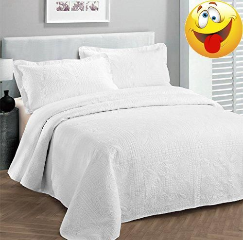 Fancy Collection Luxury Bedspread Coverlet Embossed Bed Cover Solid White  New Over Size King/ California King 3 Pc Bedspread Full/Queen Size: ...