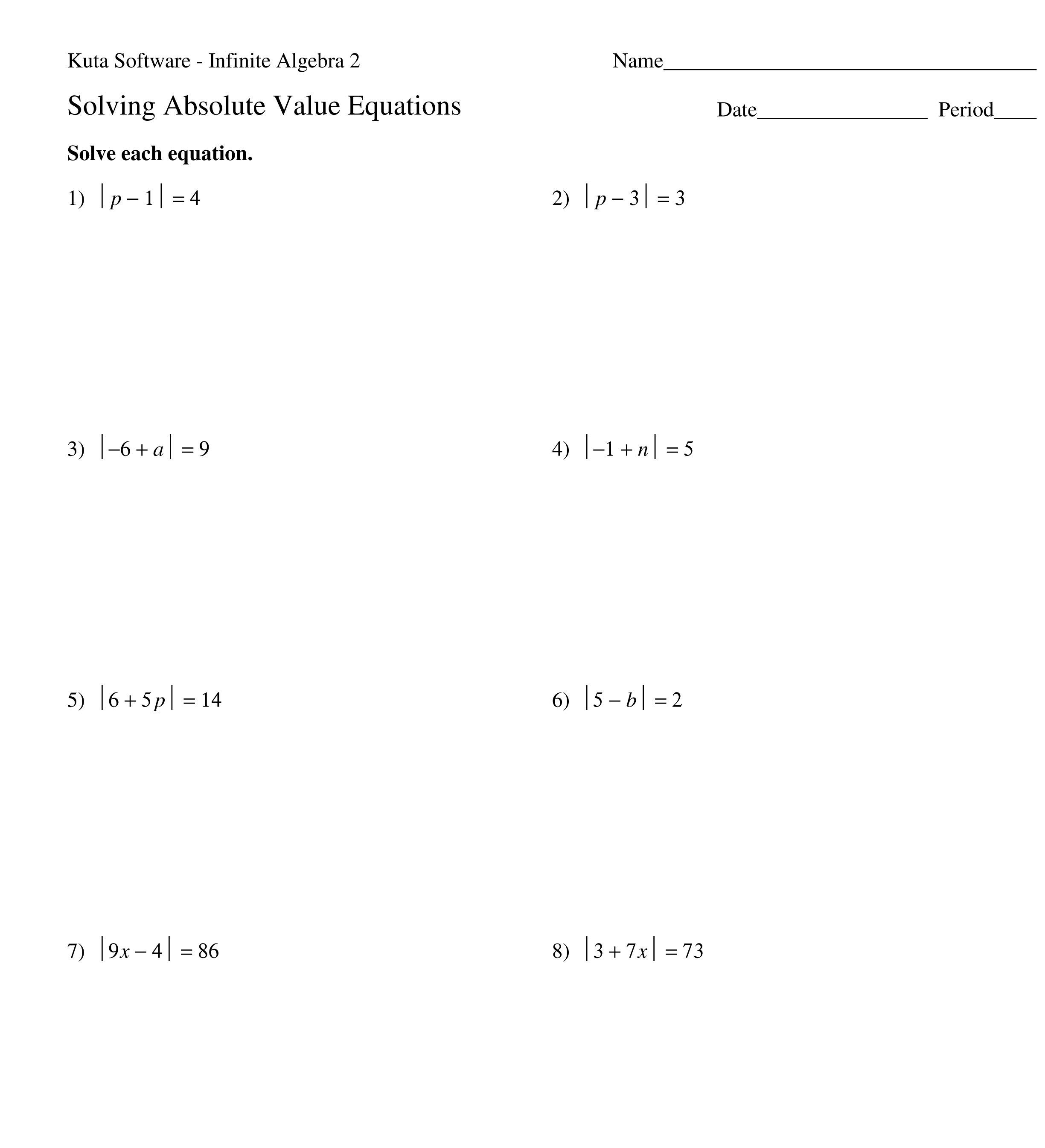 Algebra Equations Worksheet Pics