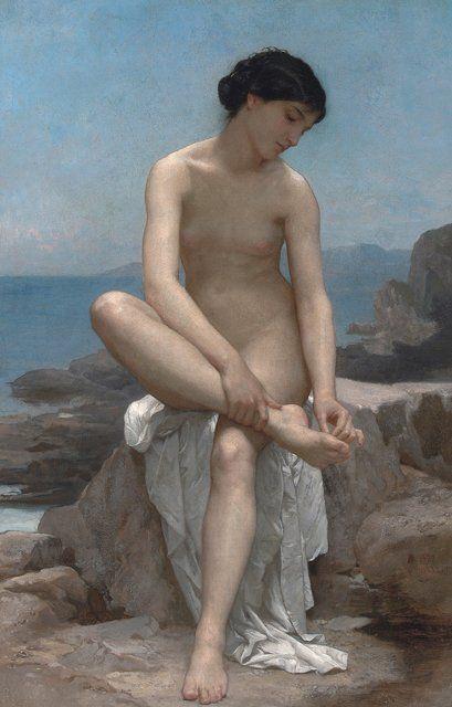 The Bather, Bouguereau #painting #art #fineart #bouguereau #classical #french #traditionalist #woman #nude #bathing #bather #delicate #femininity #feminine