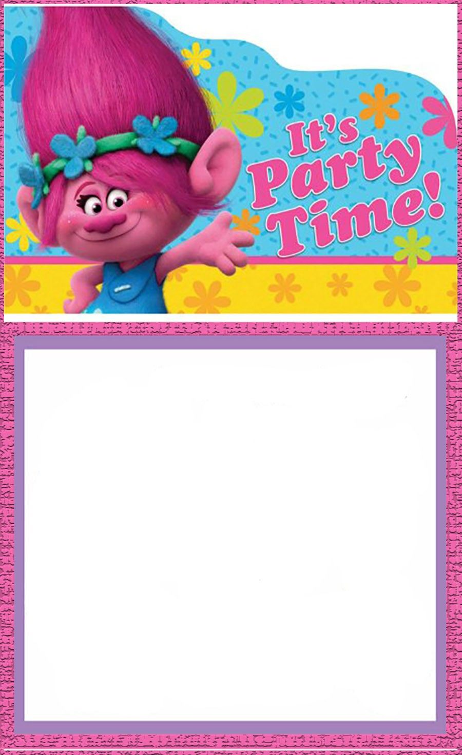 image relating to Trolls Printable Invitations titled No cost Printable Trolls Invitation Card Invites On the internet