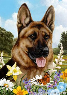 German Shepherd Tamara Burnett Summer Flowers Flag 28 X 40