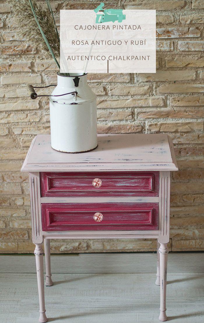 Diy con chalk paint cajonera bricolaje pinterest for Restauracion muebles vintage