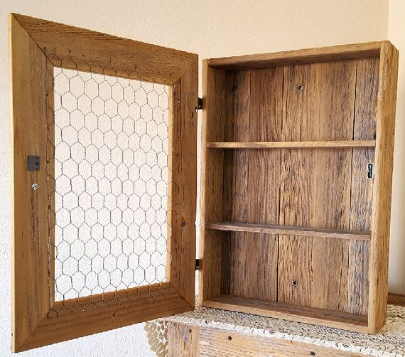 Rustic Pine Toung And Groove Interior Design: Country Cabinet/Rustic Spice Cabinet With Chicken Wire