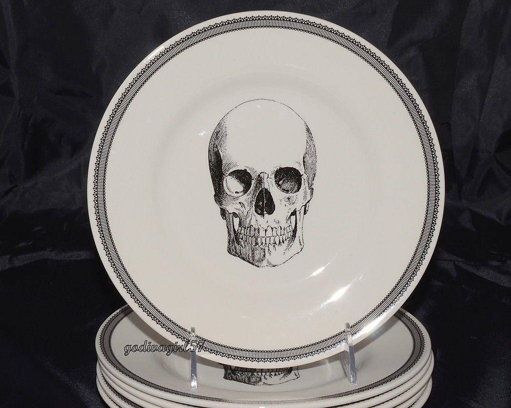 Set Of 2 Victorian English Pottery Halloween Skeleton Couple W Dog Salad Plates 34 99 English Pottery Halloween Plates Halloween Skeletons