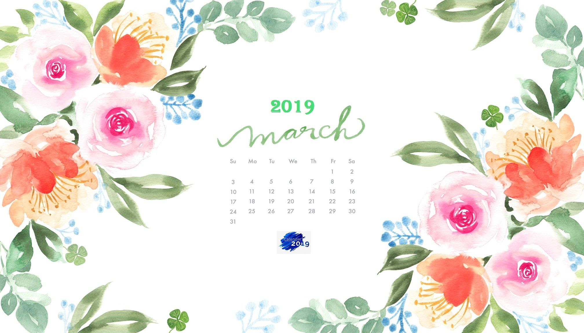 March 2019 Watercolor Calendar Wallpaper Desktop