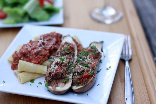 (ground beef) Stuffed Eggplant...would be great with zucchini, too!!