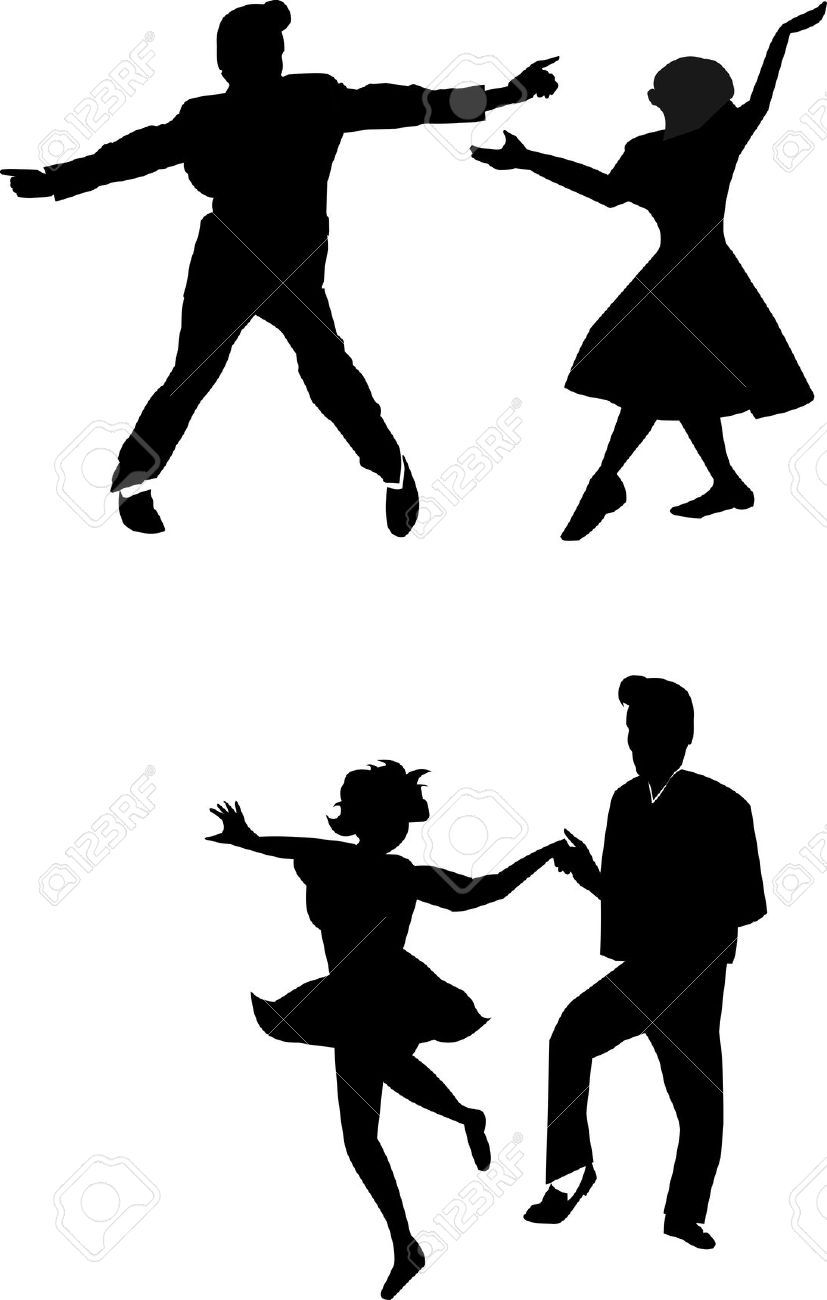 50s rock and roll shoes clipart Young couple wearing 50 s clothes dancing  rock and roll vector   Christian.mylaserlevelguide.com