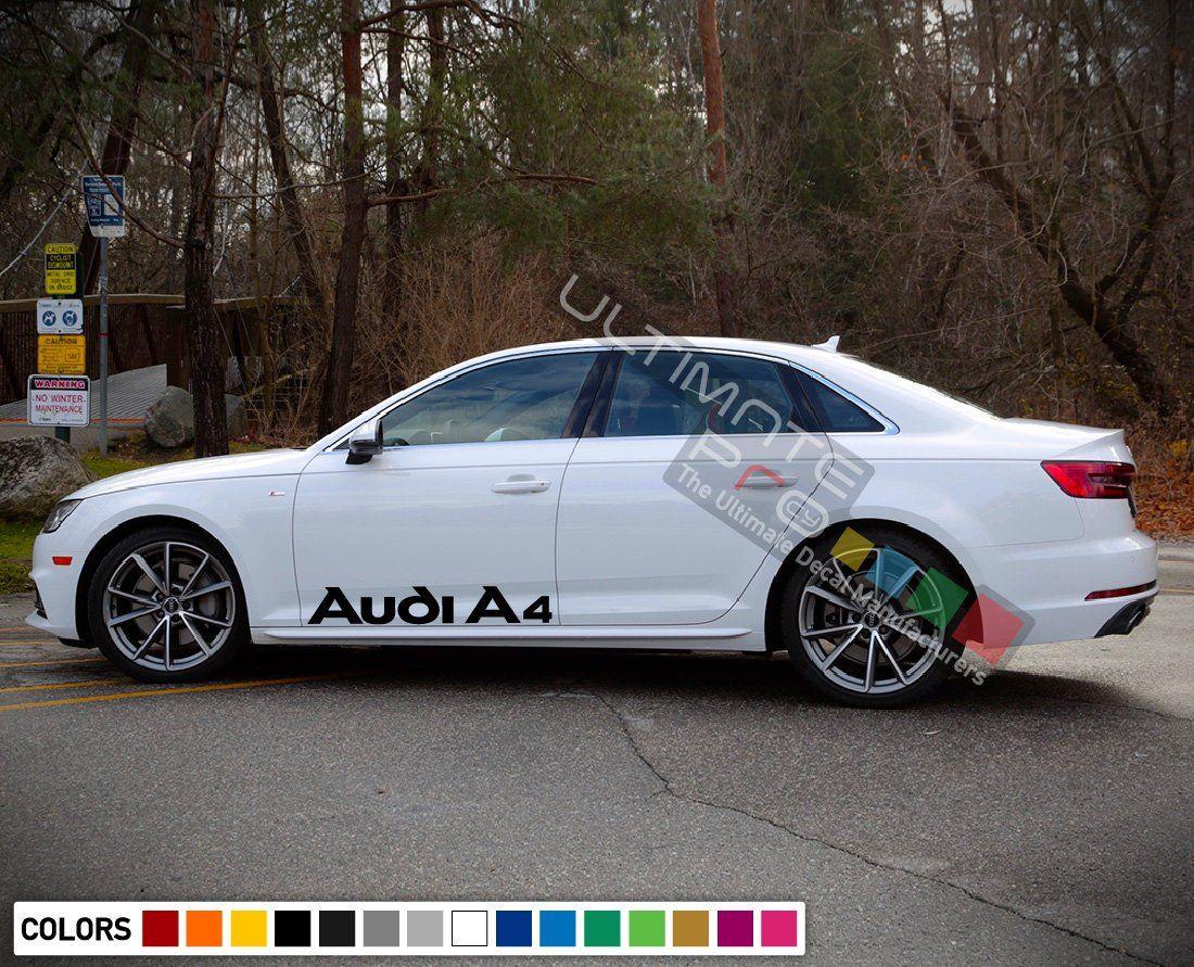 2x Sticker Decal Vinyl Side Door Stripes for Audi A4 2013 2014 2016 2018 Racing