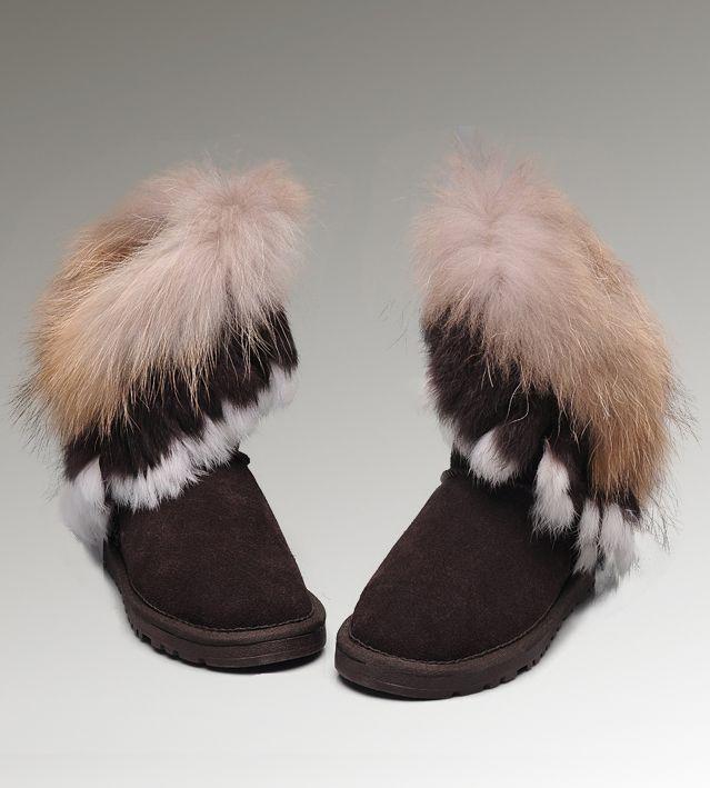 ugg short fox fur 8288 chocolate boots women ugg fox fur boots rh pinterest com