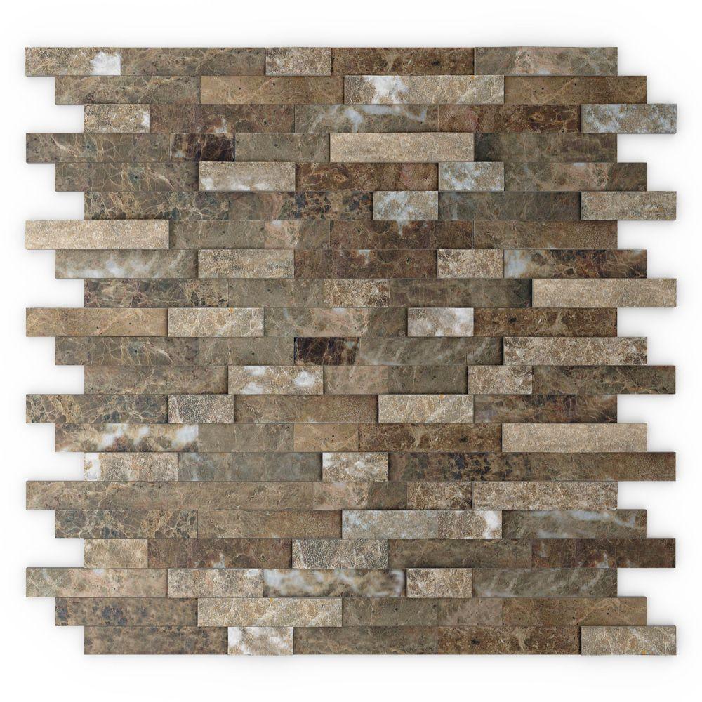 - Bengal 11.77-inch X 11.57-inch Marble Self-Adhesive Wall Mosaic