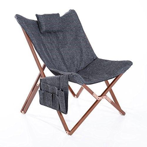 Brilliant Homcom 37 Fabric Folding Butterfly Chair Dark Gray Jet Beatyapartments Chair Design Images Beatyapartmentscom