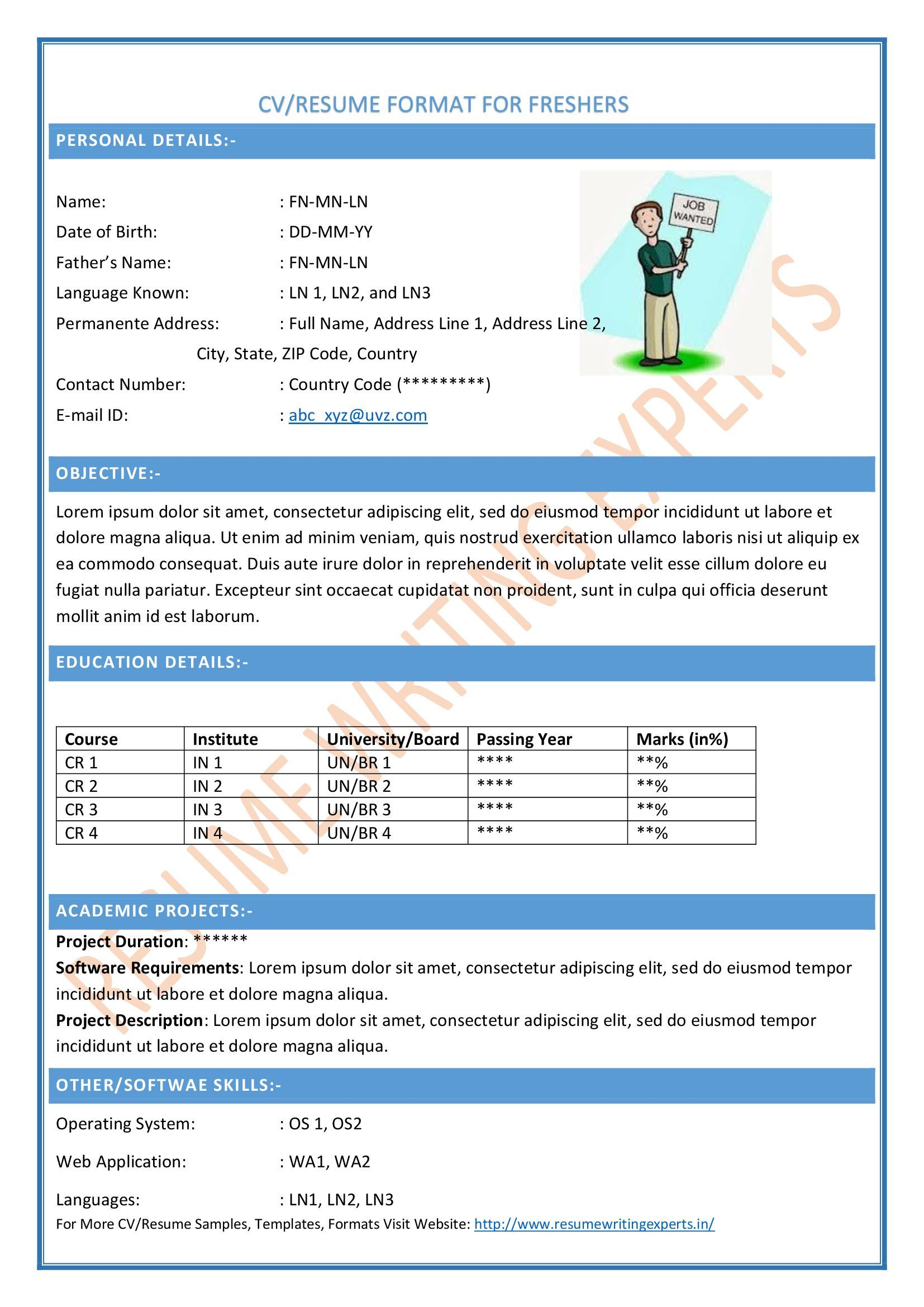 Free Resume Formats Sample Resume Format Resume Templates