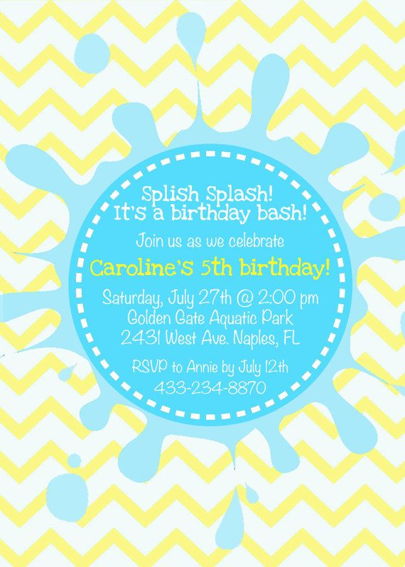 Pool Birthday Party Invitation Splish Splash By KMCustomCreations 1200