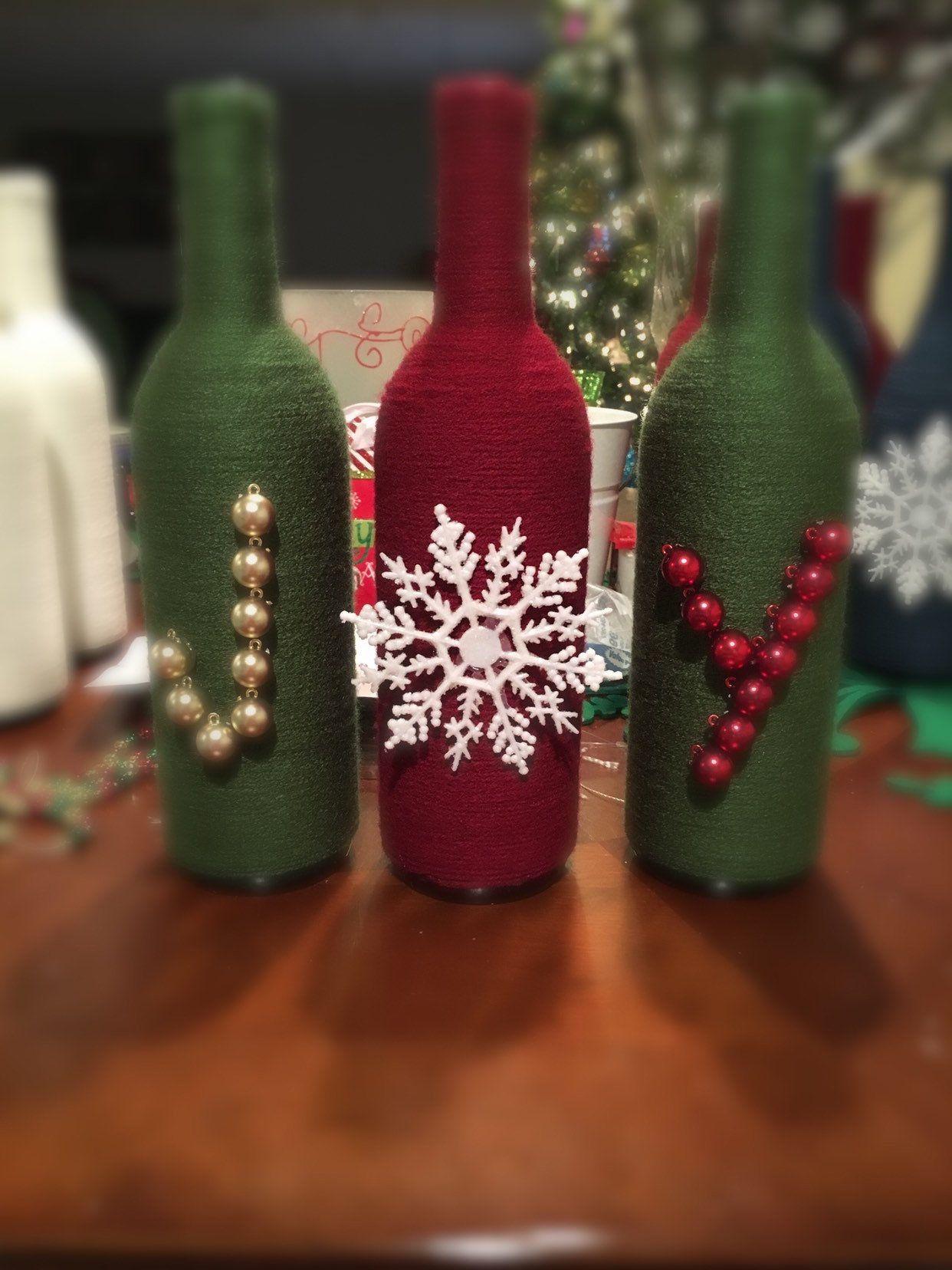 Joy Wine Bottles Set Etsy Wine Bottle Crafts Christmas Wine Bottle Crafts Wine Bottle Diy Crafts