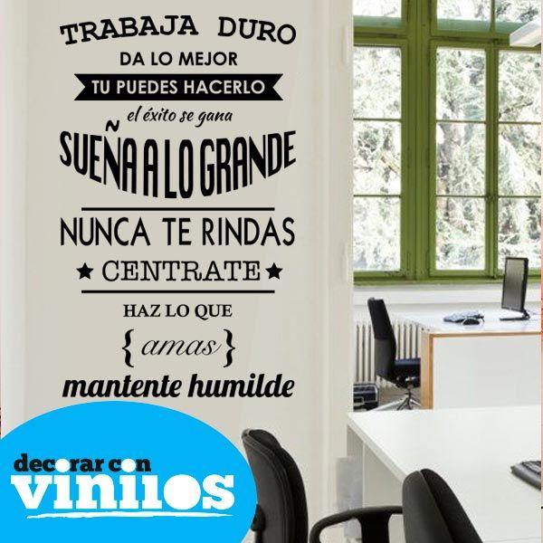 Vinilos De Frases Trabaja Duro Vinilo Decorativo Frases
